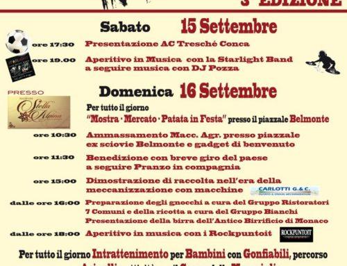 Patata di Tresché Conca in Festa – Terza edizione – 15-16 settembre 2018 – ALTOPIANO SETTE COMUNI