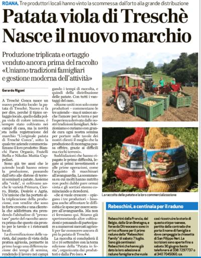 Sul Giornale di Vicenza - La Patata di Treschè Conca