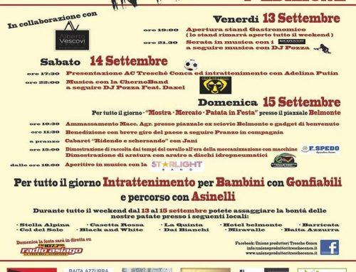 Patata di Treschè Conca in festa 2019 -13-14-15 Settembre – ALTOPIANO DI ASIAGO SETTE COMUNI